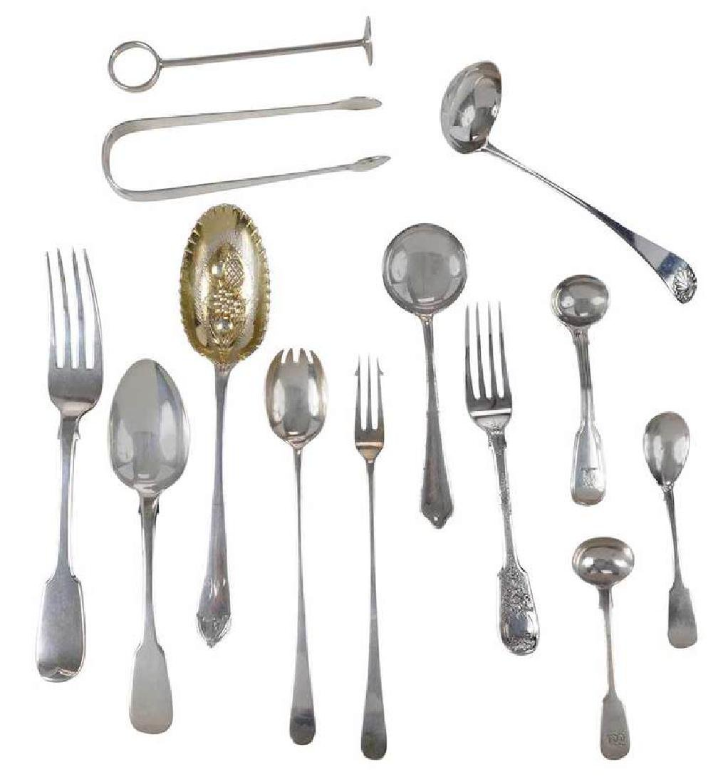 Twenty-Three Pieces English Silver Flatware