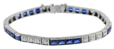Vintage Platinum, Diamond & Sapphire Bracelet