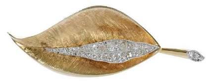 Platinum 14kt  Diamond Leaf Brooch