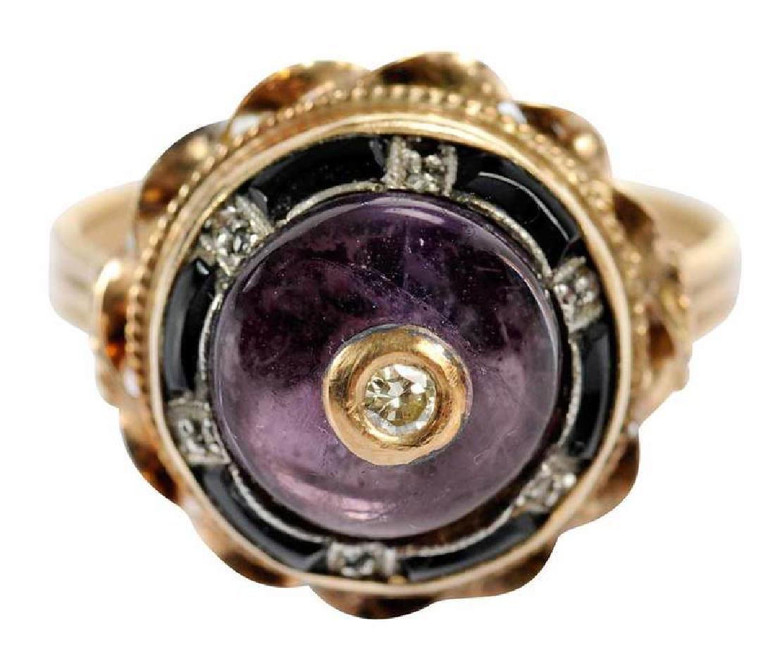Antique 14kt. Amethyst & Diamond Ring