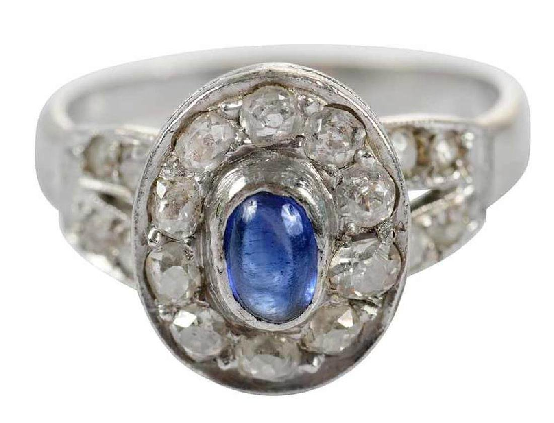 Platinum, 14kt., Sapphire & Diamond Ring