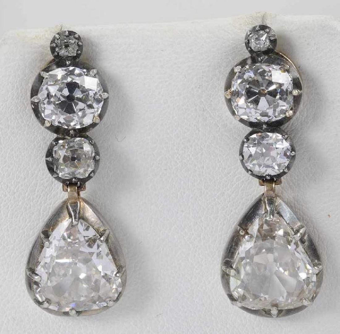 Rare 21 Carat Antique Diamond Earrings - 10