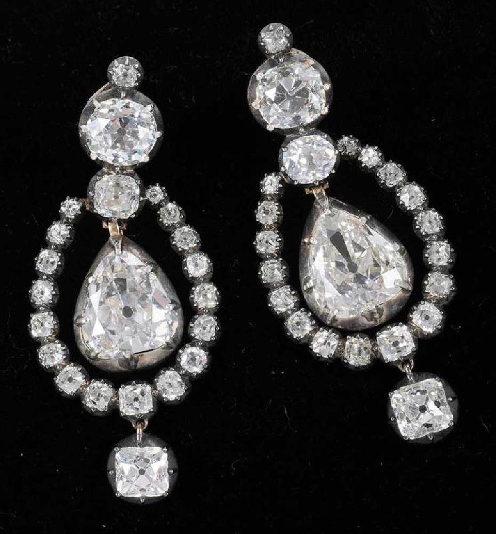 Rare 21 Carat Antique Diamond Earrings - 2