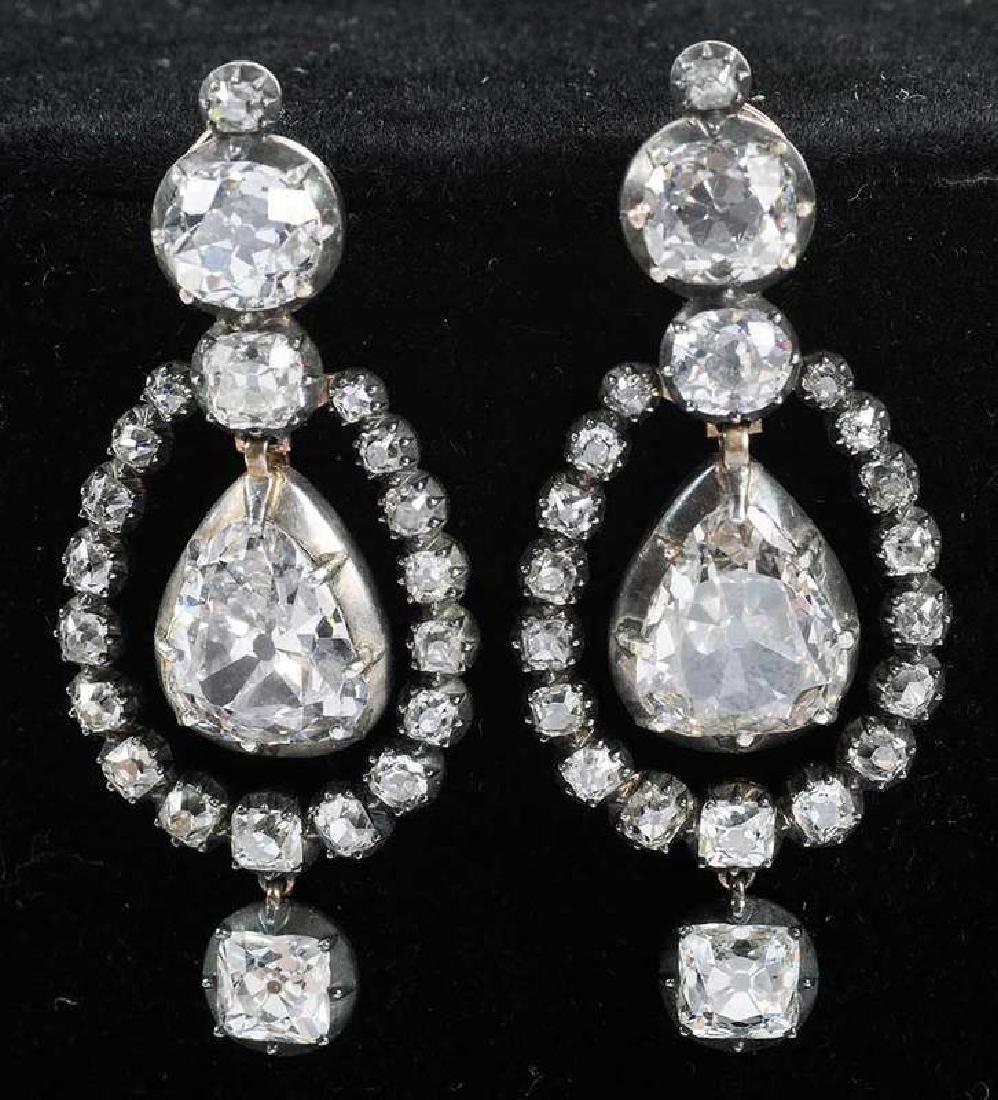 Rare 21 Carat Antique Diamond Earrings - 3