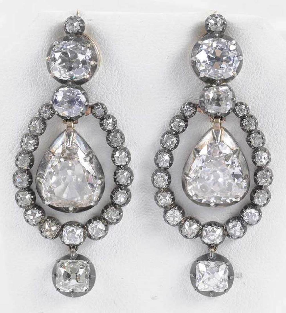Rare 21 Carat Antique Diamond Earrings - 4
