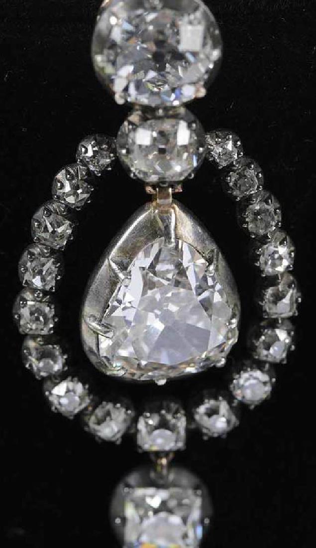 Rare 21 Carat Antique Diamond Earrings - 5