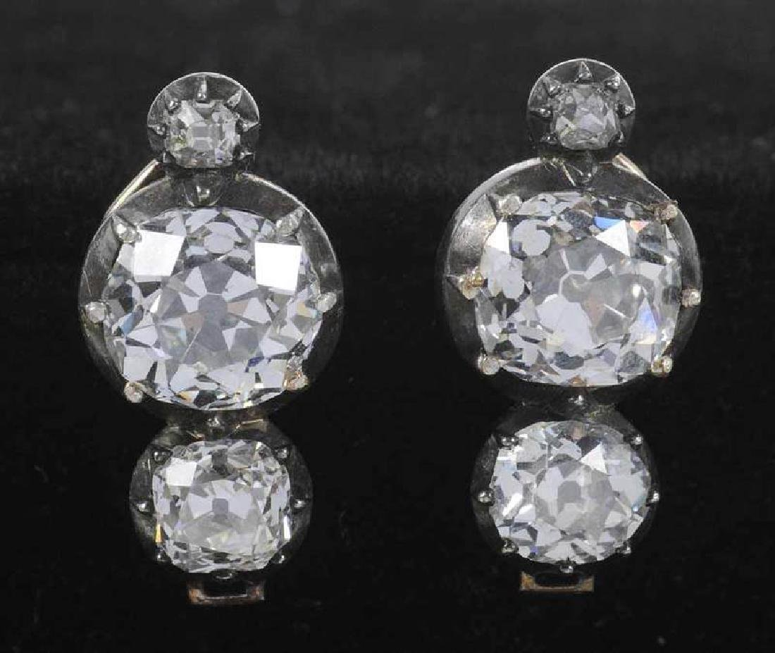 Rare 21 Carat Antique Diamond Earrings - 7