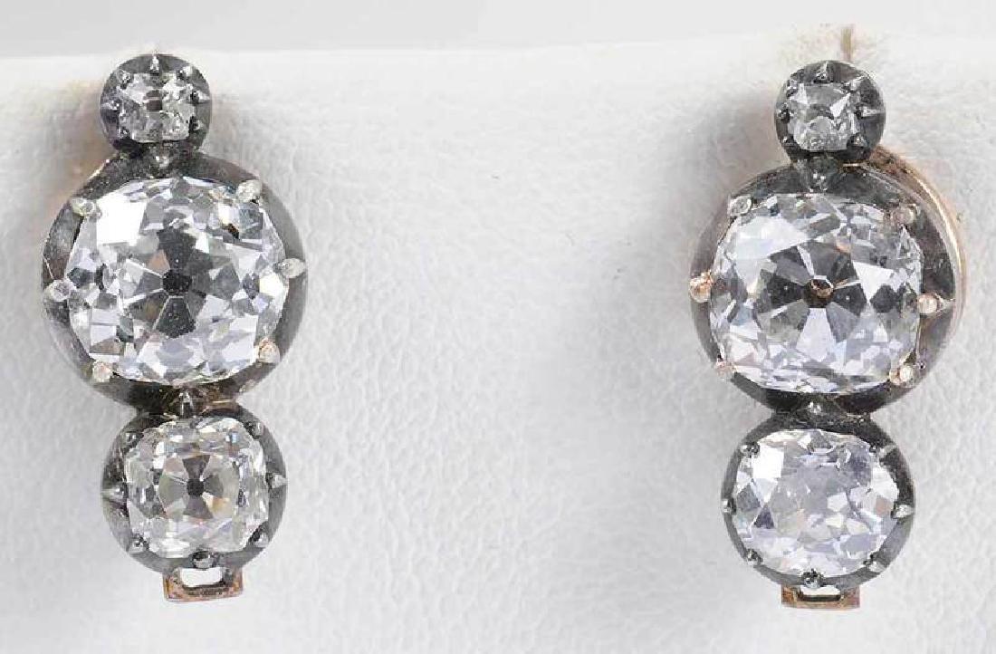 Rare 21 Carat Antique Diamond Earrings - 8