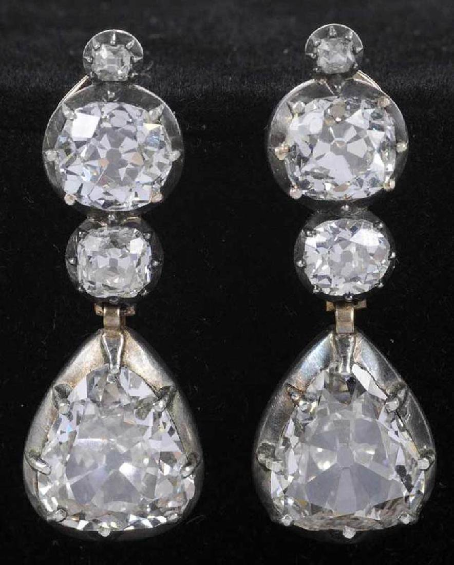 Rare 21 Carat Antique Diamond Earrings - 9