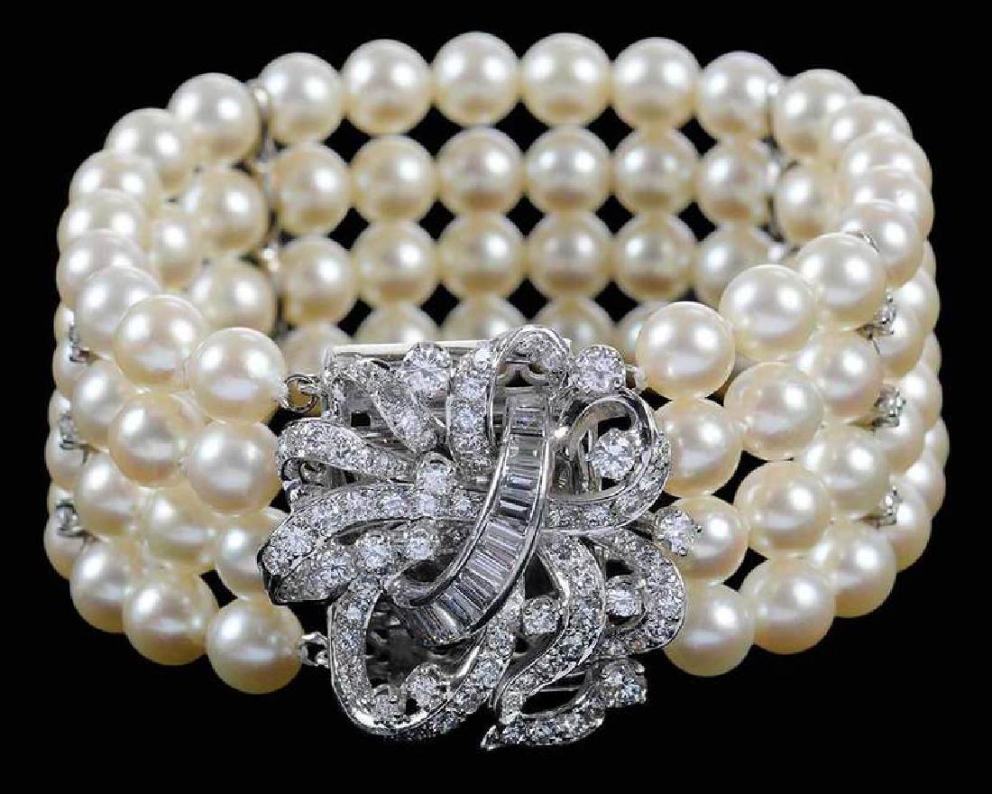 14kt. Pearl & Diamond Bracelet