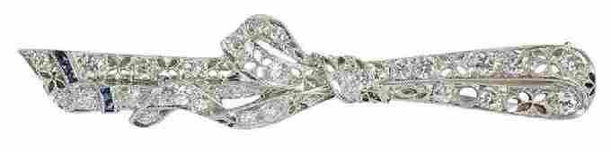 Platinum Diamond Ribbon Brooch