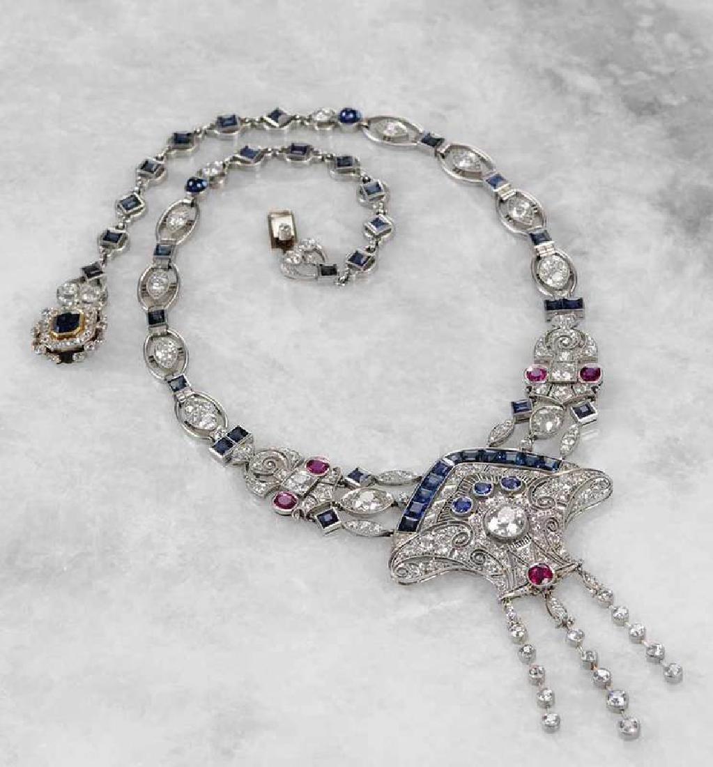 Art Deco Diamond, Sapphire & Ruby Necklace