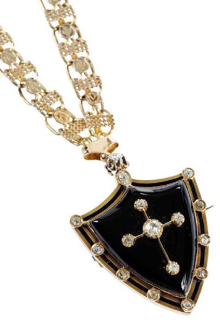 Antique 14kt. Diamond & Onyx Mourning Necklace