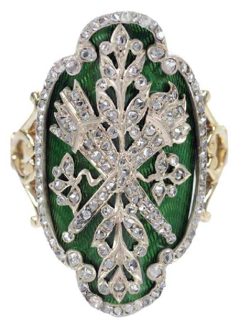 18kt. French Diamond & Enamel Ring
