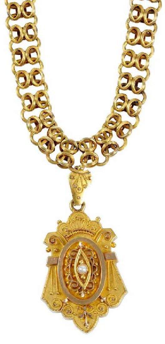 Antique 14kt. Mourning Necklace