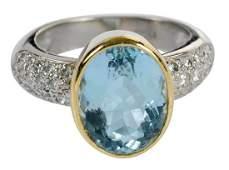 Platinum, 18kt., Diamond & Aquamarine Ring