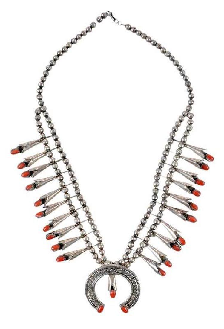 Coral Squash Blossom Necklace