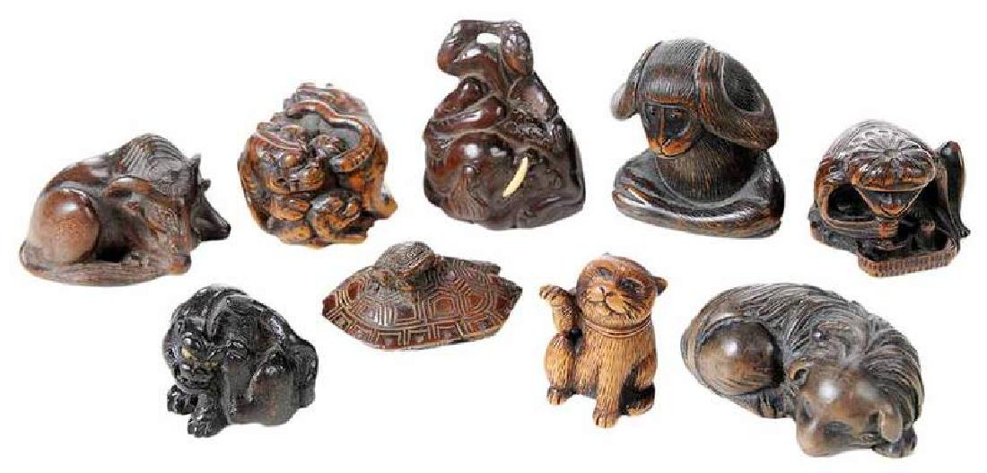 Nine Carved Wood Animal Netsukes