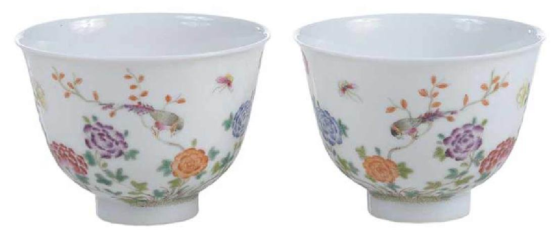 Pair of Famille Rose Republic Period Tea Cups