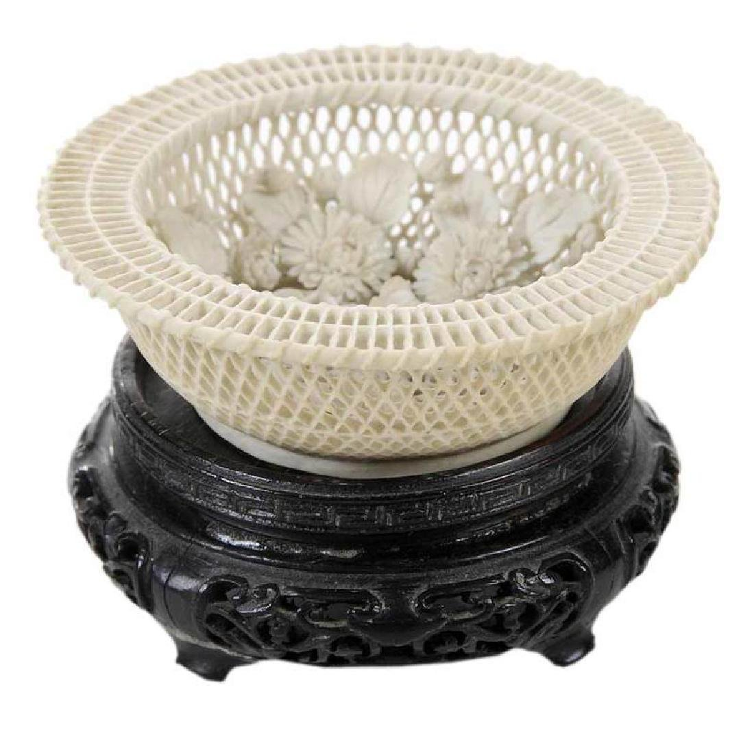 Finely Carved Miniature Bisque Basket