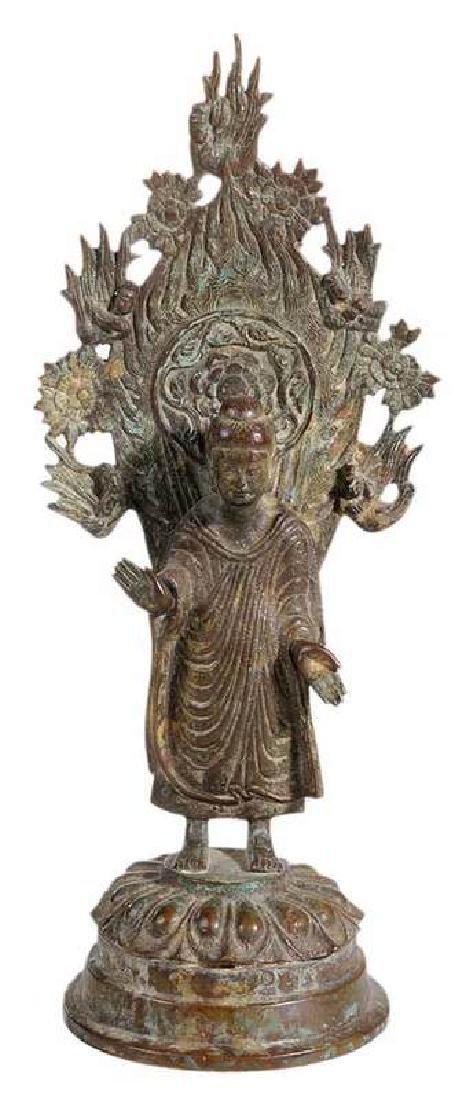 Chinese Bronze Buddha With Flame Mandorla