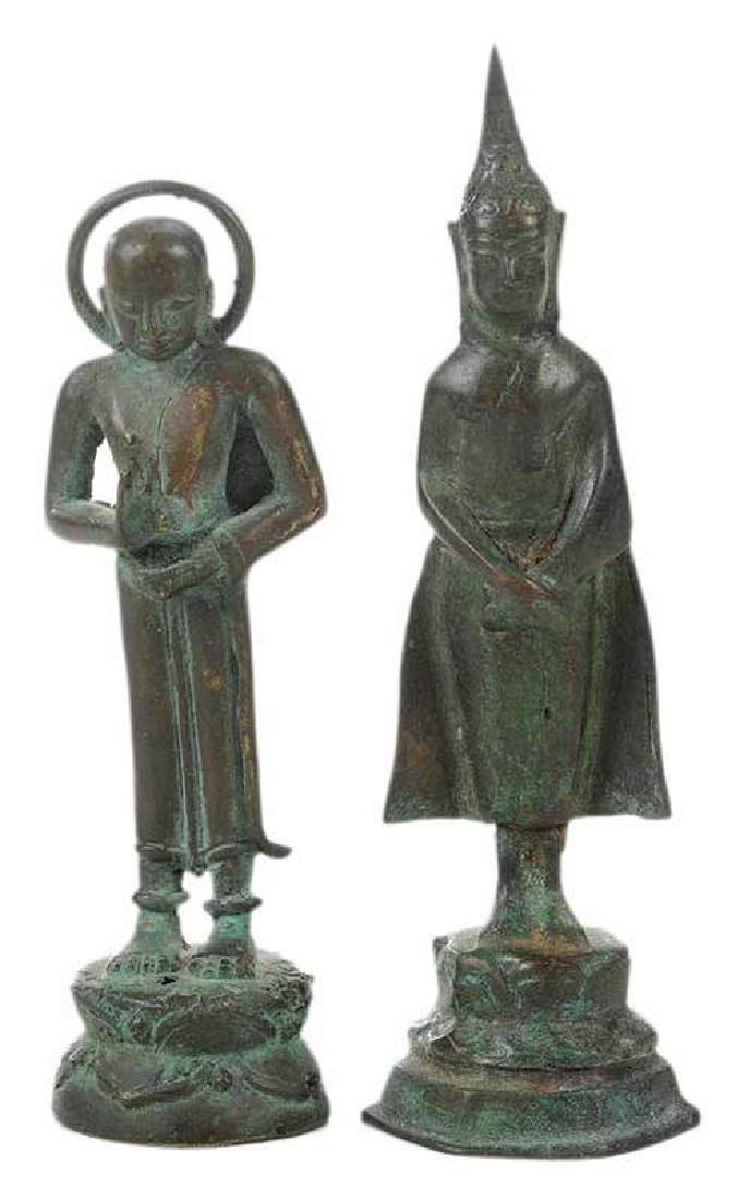Two Bronze Small Thai Buddhas