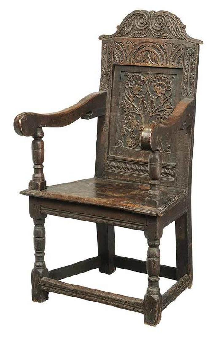 Early Mannerist Carved and Joined Oak Arm Chair