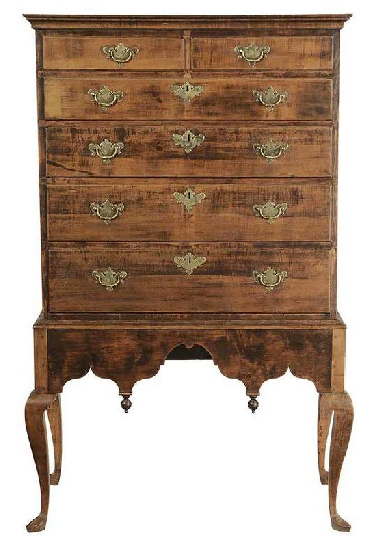 Queen Anne Figured Maple Chest on Frame