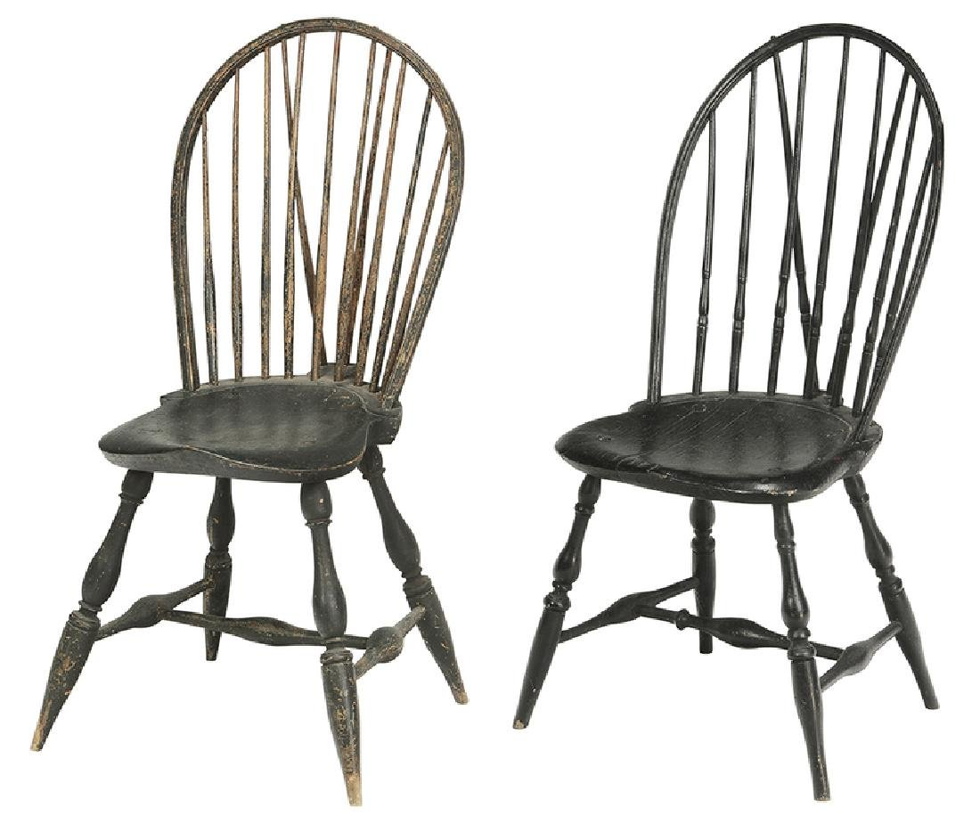 Two Painted Brace Back Windsor Side Chairs