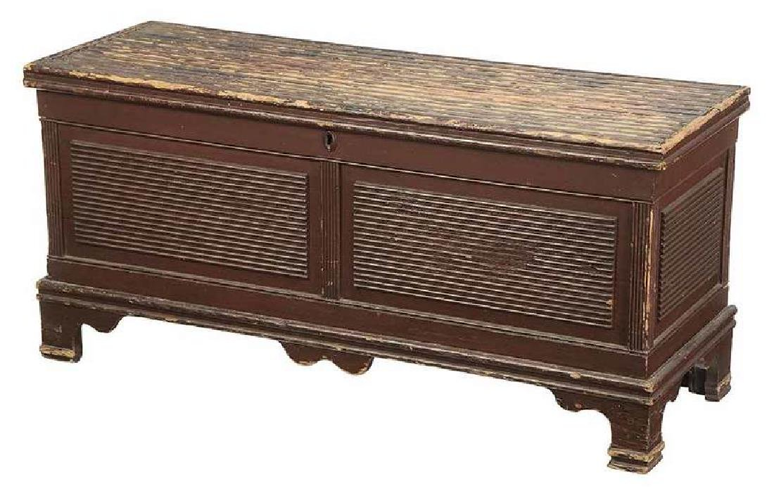 American Federal Red Painted Blanket Chest