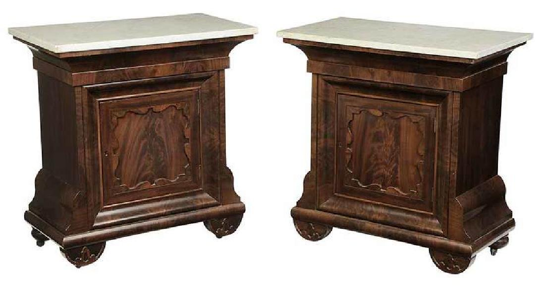 Pair Classical Marble Top Mahogany Commodes