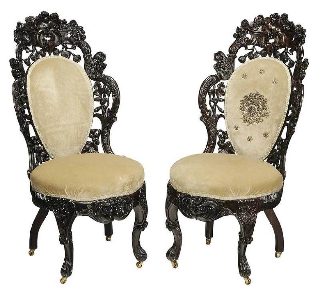 Fine Pair Belter Rosewood Side Chairs