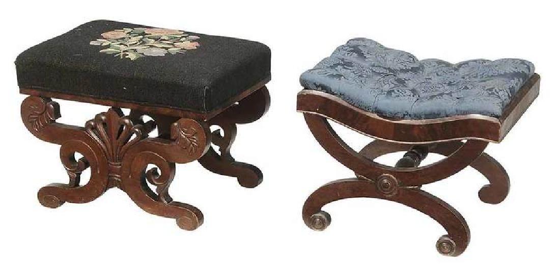 Two American Classical Mahogany Foot Stools