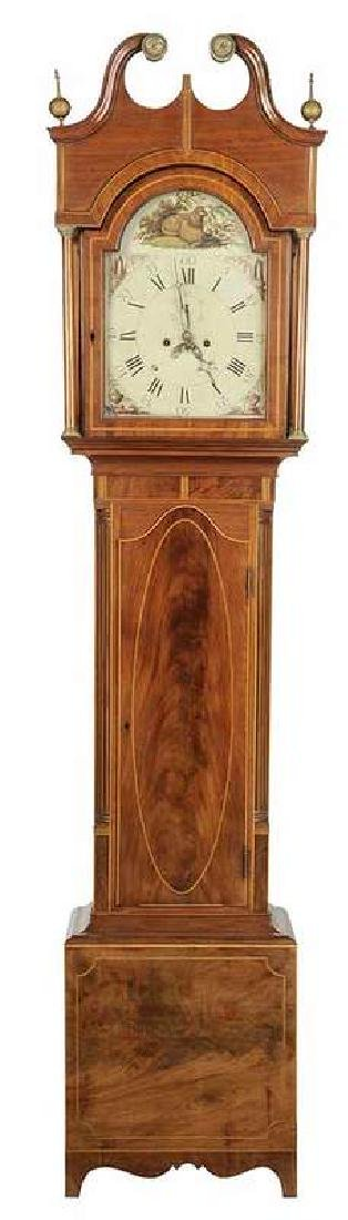 American Federal Inlaid Mahogany Tall Case Clock
