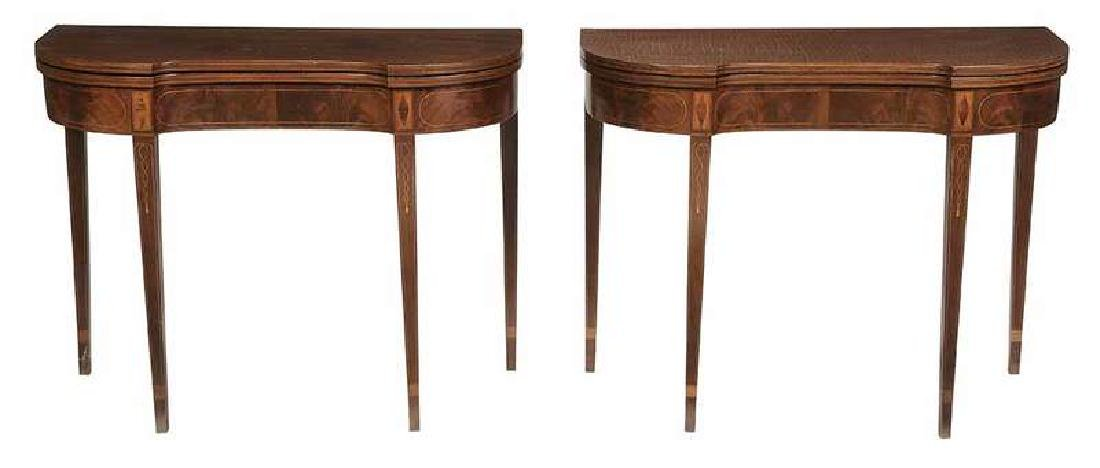 Fine Pair American Federal Card Tables