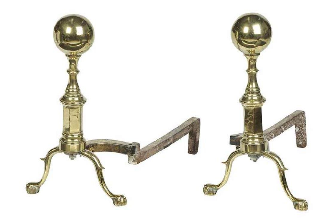 Pair Federal Style Brass Andirons