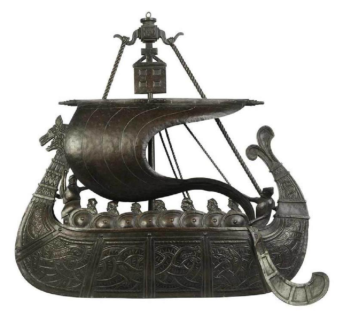 Arts & Crafts Viking Ship Brass Fixture