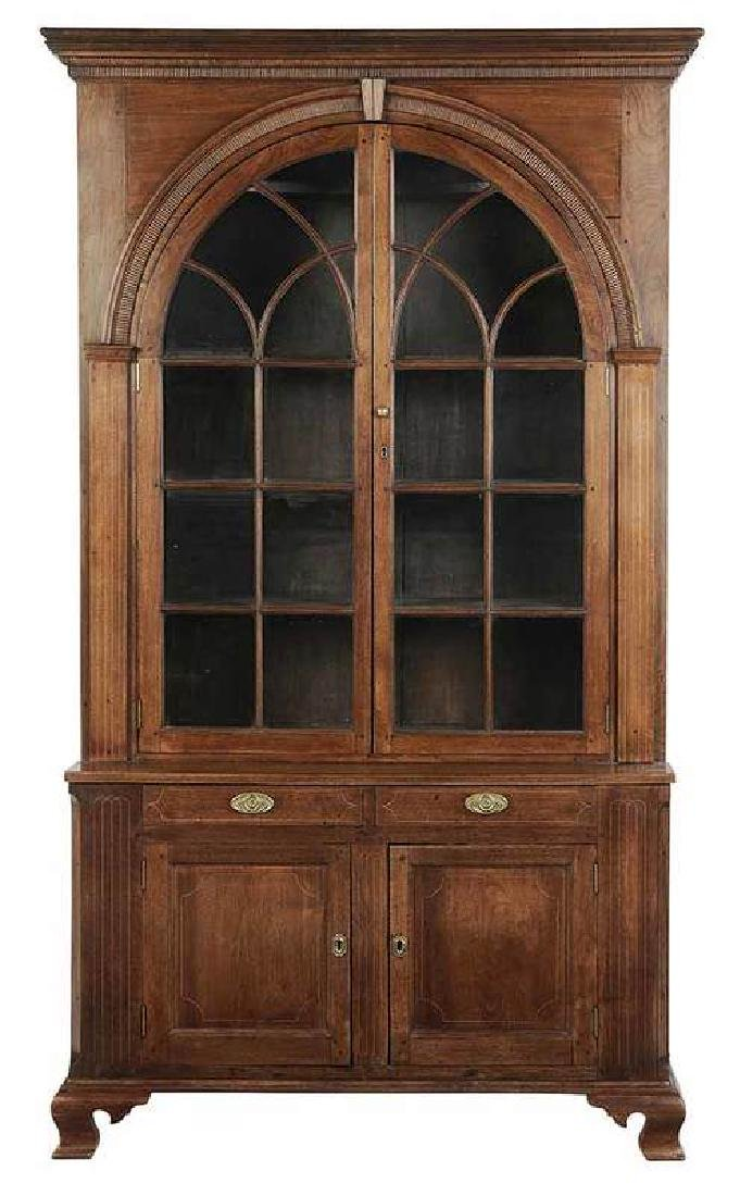Southern Chippendale Inlaid Walnut Flat Cupboard