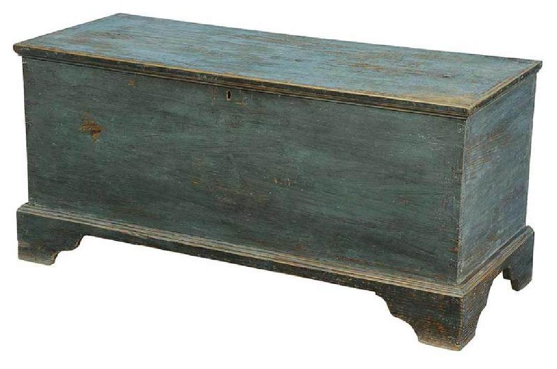 Southern Chippendale Blue Painted Blanket Chest