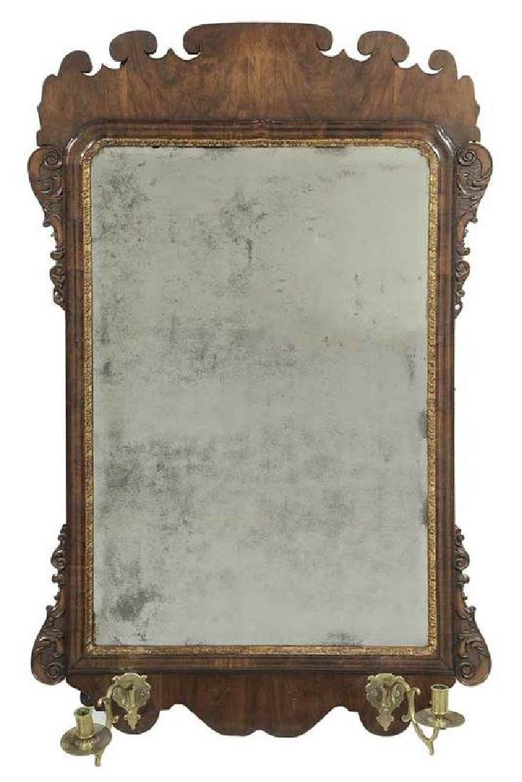 George II Walnut Mirror With Sconces