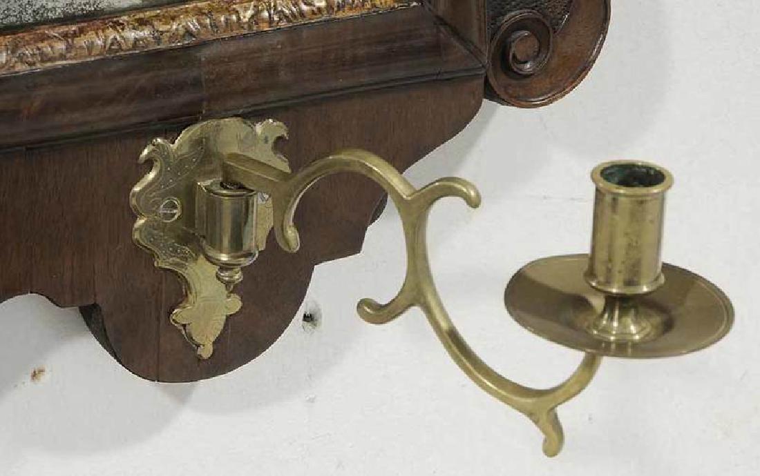 George II Walnut Mirror With Sconces - 2