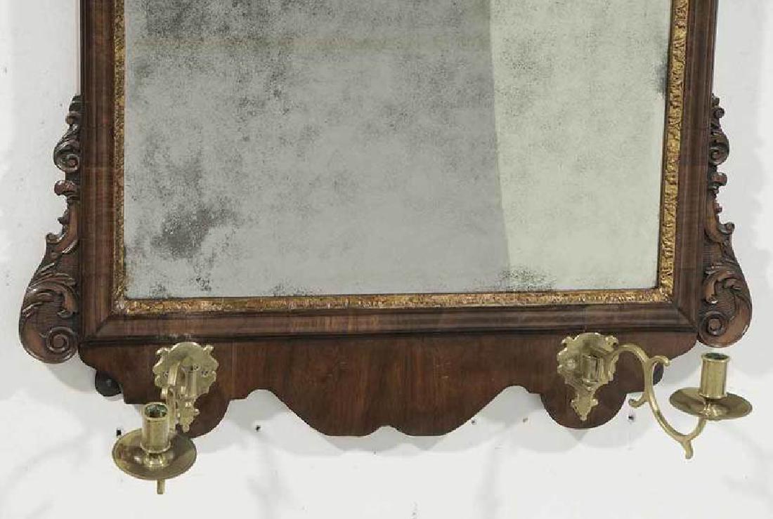 George II Walnut Mirror With Sconces - 4