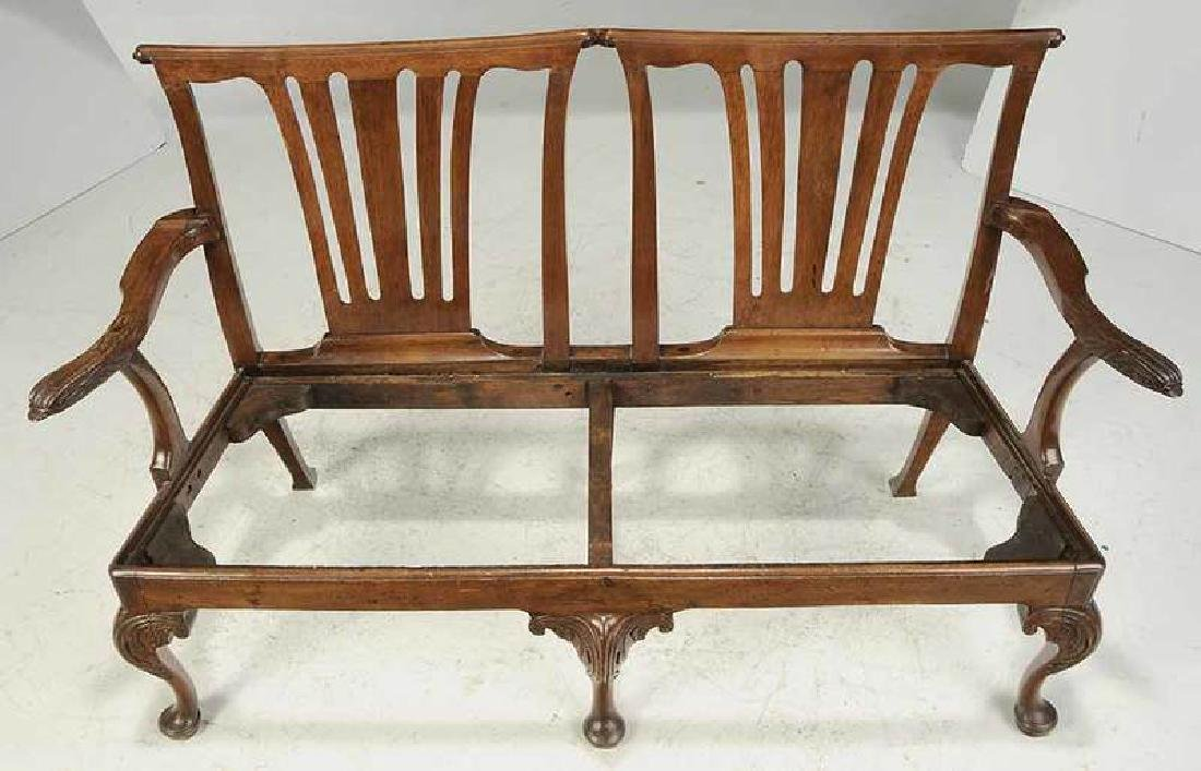 George II Caned Walnut Settee - 3