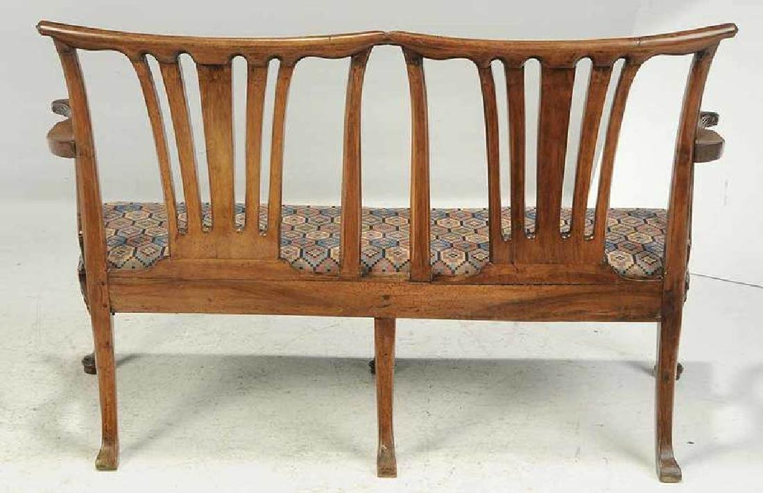 George II Caned Walnut Settee - 7