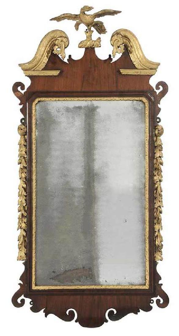 Chippendale Mahogany and Parcel Gilt Mirror