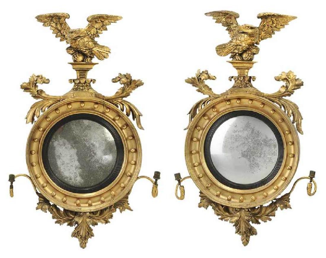 Fine Pair Classical Carved and Gilt Wood Mirrors