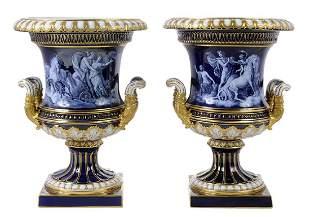 Fine Pair of Meissen Porcelain Urns
