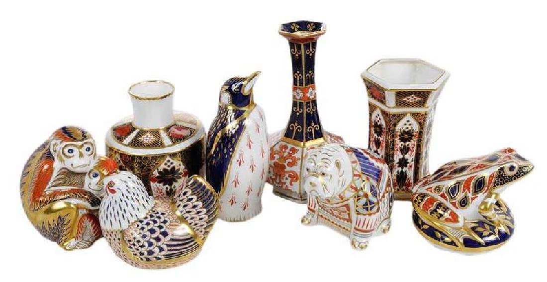 Eight Royal Crown Derby Cabinet Pieces