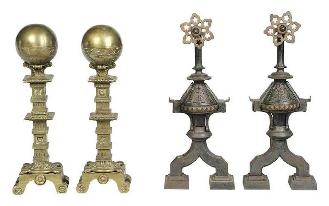 Two Pairs Aesthetic Movement Brass Andirons