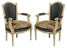 Pair Louis XVI Style Parcel Gilt Open Arm Chairs